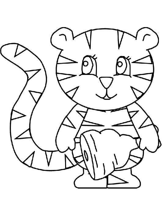 幼儿园过年之给小老虎涂色