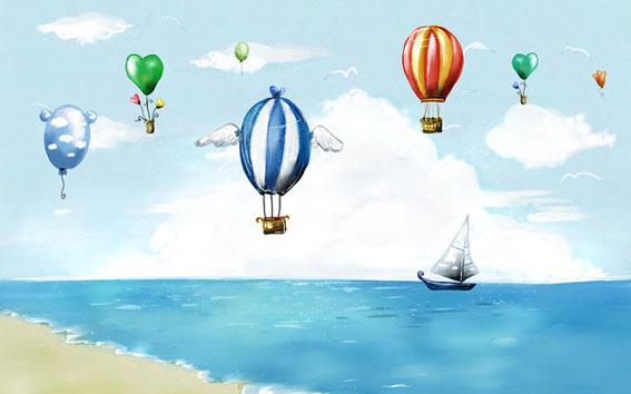 科幻卡通图片:热气球 - 红缨教育_做中国幼儿园连锁的