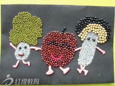 儿童手工制作; 用豆子制作的儿童拼贴画; 儿童手工制作图片—用豆子制