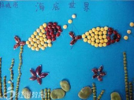 儿园环境布置 豆子拼贴画