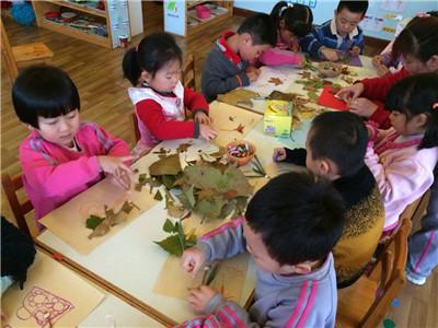 """手工""""树叶贴画"""" - 红缨教育_做中国幼儿园连锁经营的"""