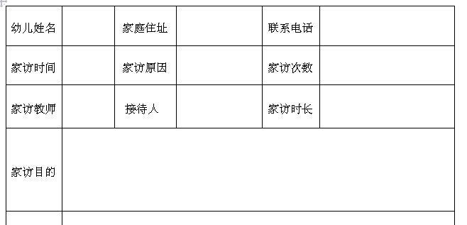 家访记录表-红缨教育_做中国幼儿园连锁经营高中法语毕业图片