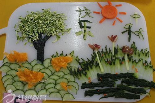 广西玉林红缨小福星幼儿园组织中秋亲子创意水果拼盘大赛图片