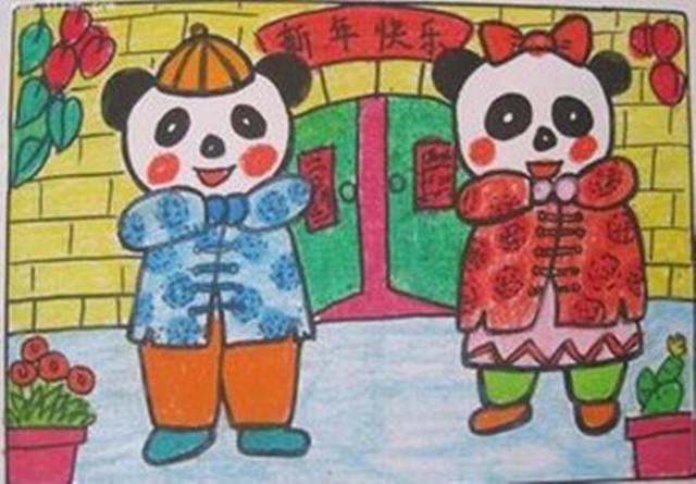 【线条画】幼儿新年绘画作品参考