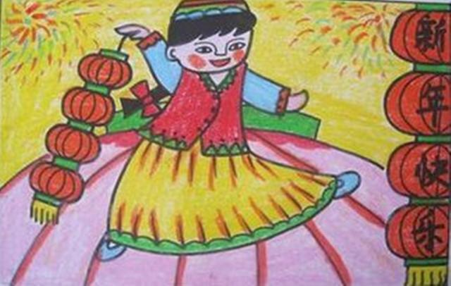 【线条画】幼儿新年绘画作品参考图片