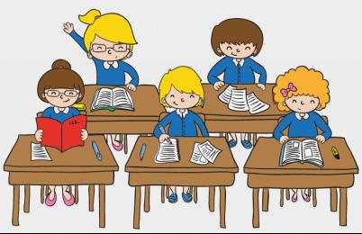 孩子上课卡通图片