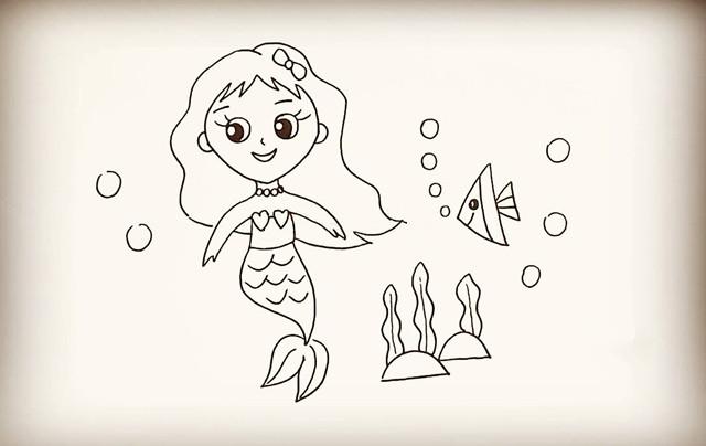【简笔画】美人鱼教程