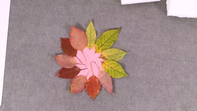 首页 美工 用秋天树叶做鬼脸太阳花         卡纸,落叶,双面胶,剪刀