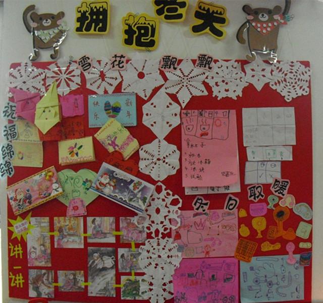幼儿作品展示墙布置图片冬天