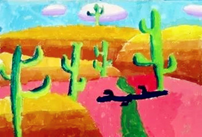 基础油画棒的绘画技法看这里  把不同颜色的油画棒画出的线或点并列