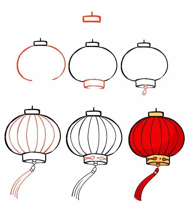 新年简笔画,用灯笼,鞭炮,红包一起迎接春节吧!