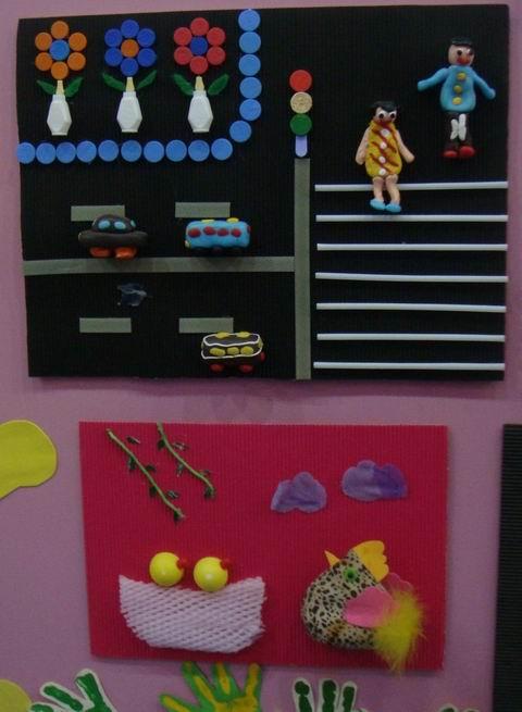 幼儿园楼道布置:幼儿手工作品展